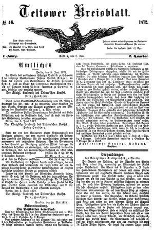 Teltower Kreisblatt vom 08.06.1872