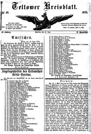 Teltower Kreisblatt vom 15.06.1872