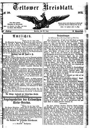 Teltower Kreisblatt vom 22.06.1872