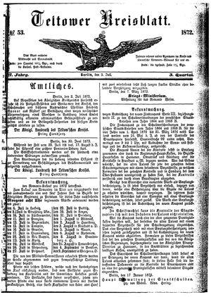 Teltower Kreisblatt vom 03.07.1872