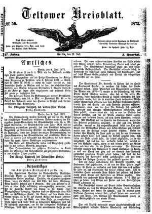 Teltower Kreisblatt vom 13.07.1872
