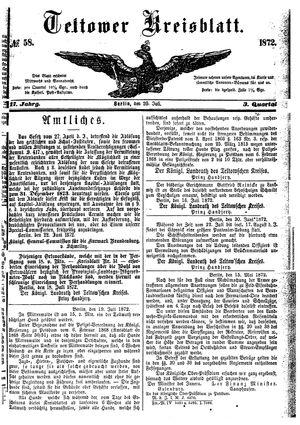 Teltower Kreisblatt vom 20.07.1872