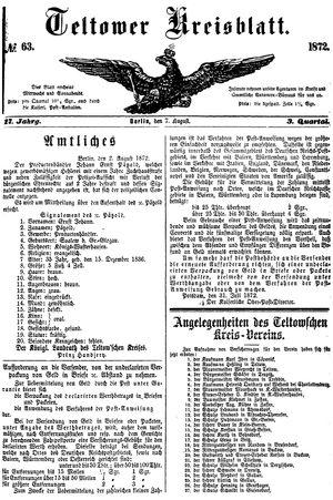 Teltower Kreisblatt vom 07.08.1872
