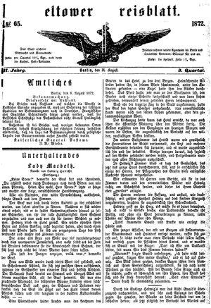 Teltower Kreisblatt vom 14.08.1872