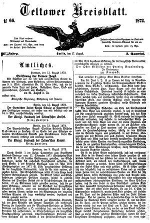 Teltower Kreisblatt vom 17.08.1872