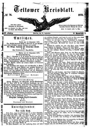 Teltower Kreisblatt vom 21.09.1872