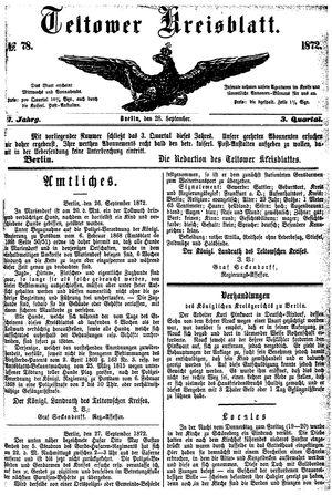 Teltower Kreisblatt vom 28.09.1872