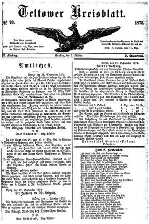 Teltower Kreisblatt vom 02.10.1872