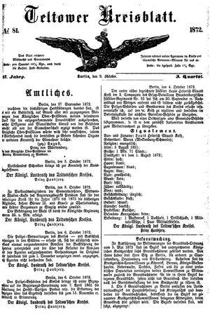 Teltower Kreisblatt vom 09.10.1872
