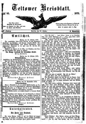 Teltower Kreisblatt vom 23.10.1872