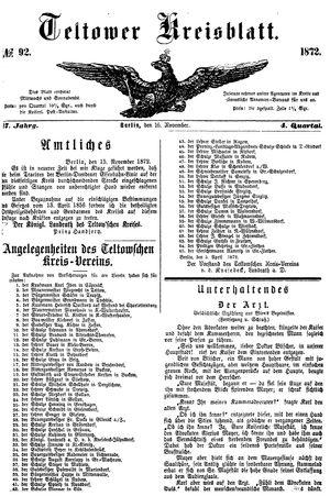 Teltower Kreisblatt vom 16.11.1872