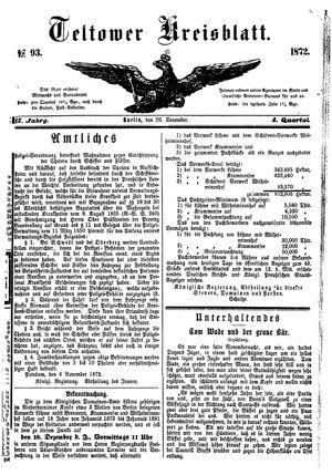 Teltower Kreisblatt vom 20.11.1872