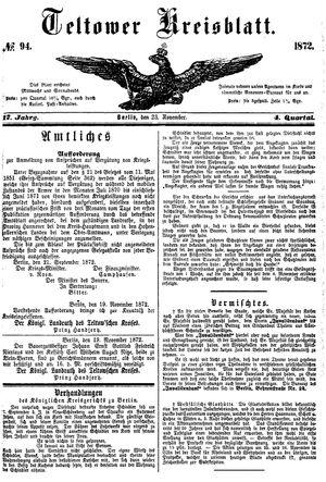 Teltower Kreisblatt vom 23.11.1872