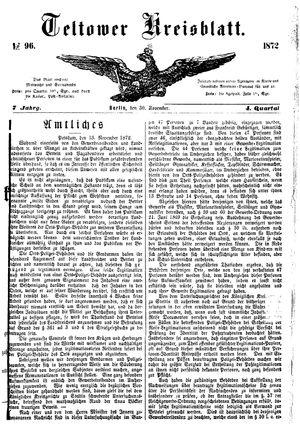 Teltower Kreisblatt vom 30.11.1872