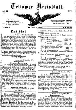 Teltower Kreisblatt vom 04.12.1872