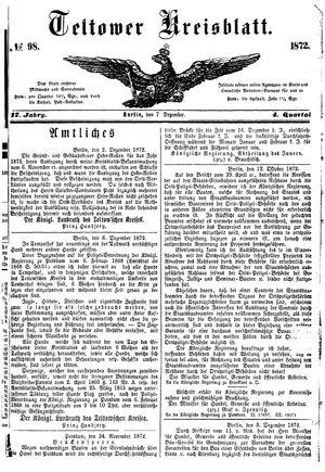 Teltower Kreisblatt vom 07.12.1872