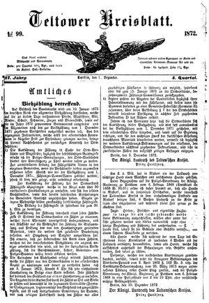 Teltower Kreisblatt vom 11.12.1872