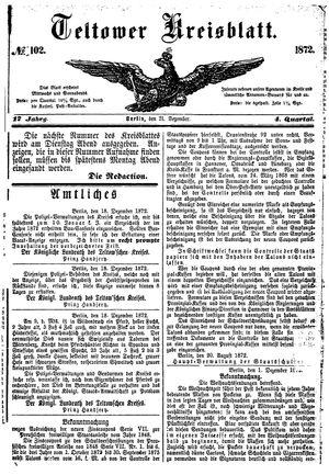 Teltower Kreisblatt vom 21.12.1872