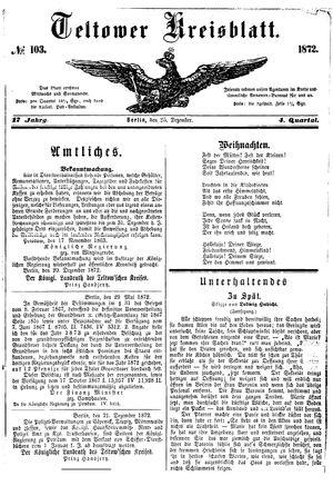 Teltower Kreisblatt on Dec 25, 1872