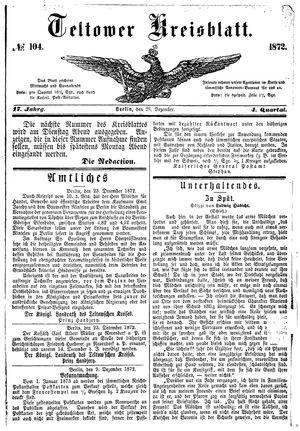Teltower Kreisblatt vom 28.12.1872