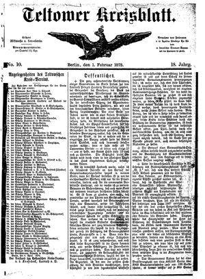 Teltower Kreisblatt vom 01.02.1873