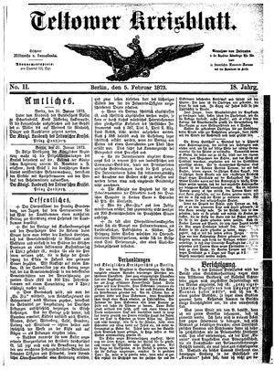 Teltower Kreisblatt vom 05.02.1873