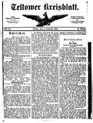 Teltower Kreisblatt vom 08.02.1873