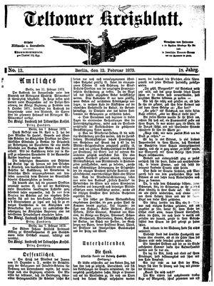 Teltower Kreisblatt vom 12.02.1873