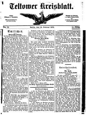 Teltower Kreisblatt vom 15.02.1873