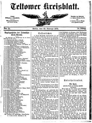Teltower Kreisblatt on Feb 22, 1873
