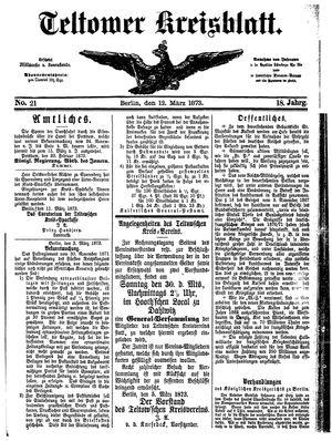 Teltower Kreisblatt vom 12.03.1873