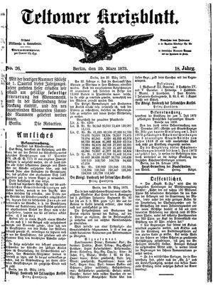 Teltower Kreisblatt vom 29.03.1873