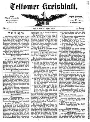 Teltower Kreisblatt vom 02.04.1873