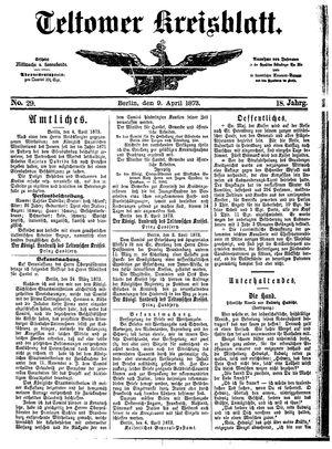 Teltower Kreisblatt vom 09.04.1873