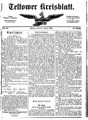 Teltower Kreisblatt vom 12.04.1873