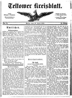 Teltower Kreisblatt vom 16.04.1873