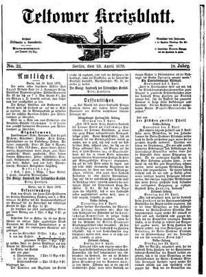 Teltower Kreisblatt vom 23.04.1873