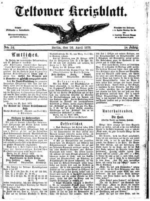 Teltower Kreisblatt on Apr 26, 1873