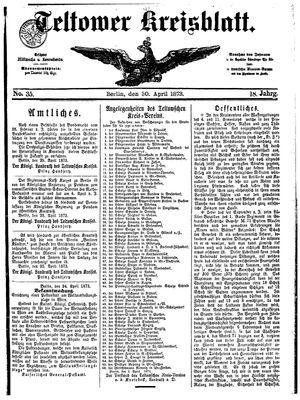Teltower Kreisblatt vom 30.04.1873