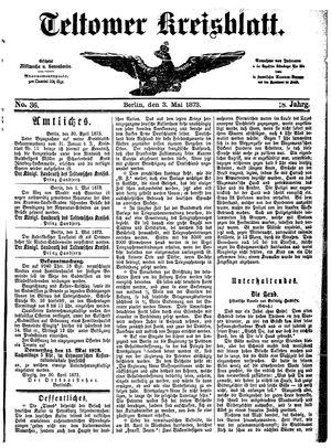 Teltower Kreisblatt vom 03.05.1873