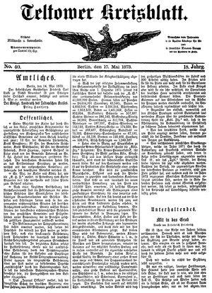 Teltower Kreisblatt vom 17.05.1873