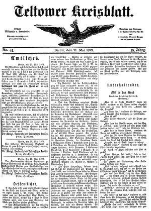 Teltower Kreisblatt vom 21.05.1873