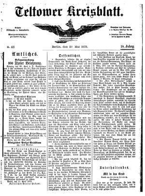 Teltower Kreisblatt vom 28.05.1873