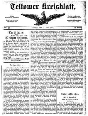 Teltower Kreisblatt vom 11.06.1873