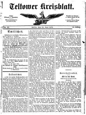 Teltower Kreisblatt vom 14.06.1873