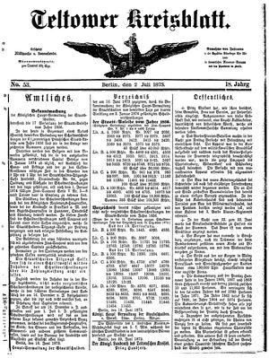 Teltower Kreisblatt vom 02.07.1873