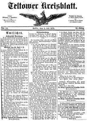 Teltower Kreisblatt vom 05.07.1873
