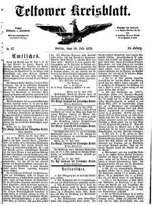Teltower Kreisblatt vom 16.07.1873