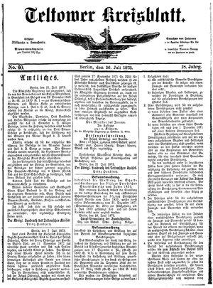 Teltower Kreisblatt vom 26.07.1873