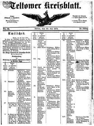 Teltower Kreisblatt vom 30.07.1873